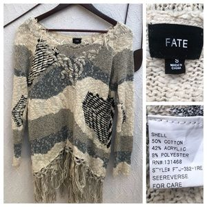 FATE Cotton Blend Sweater With Fringe
